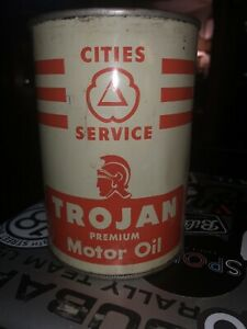 Trojan Motor Oil Cities Service Metal Gas Oil Qt. Can Empty