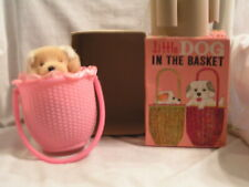 MADE IN JAPAN LITTLE  DOG IN THE BASKET WIND UP TOY WITH BOX
