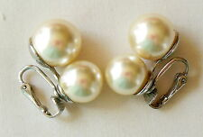 Vintage Silver-tone Stacked Faux Pearl Earrings Clip On Marked Cathé