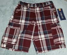 Cherokee adjustable waist cargo short red plaid size 7. 100% cotton. New w tags