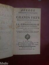 Brunet Abrégé chronologique des grands fiefs de la couronne de France 1759 relié