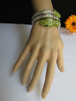 Women Bracelet Fashion Jewelry Silver Metal Snake Head Wrap Green Cobra Bling