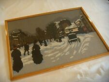 """Completed LOWRY WINTER STREET SCENE Needlepoint Tapestry Framed 20.5 x 15.5"""""""