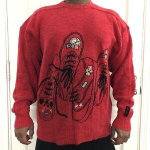 Carlo Colucci Pullover Sweater Mens XL Euro 52 Retro Red Jumper 80s/90s Vintage