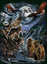 WOLF WOLVES BEAR BEARS EAGLE EAGLES MOON QUEEN SIZE BLANKET BEDSPREAD