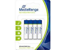 4 Stück  Media Range AAA  Akku  MICRO BATTERY HR03 NiMh-Accu 800mAh