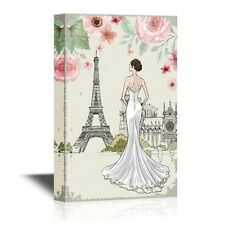 Wall26 - Canvas Wall Art - Back of a Lady with Eiffel Tower and Flowers - 16x24