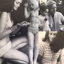 1960s Summer Lace Bikini Vest Bolero Cotton Patons 940 Knitting Pattern Retro