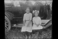 Antique 4x5 Inch Plate Glass Negative Of Two Girls Sitting On Vintage Car E16