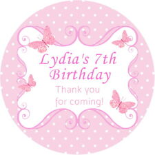 PERSONALISED GLOSS PINK  BUTTERFLY PARTY BAG FOOD BOX LABEL SWEET CONE STICKERS