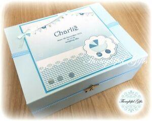 Personalised LARGE White/ Baby Boy's Keepsake Box/ Memory Box/ New Baby Gift