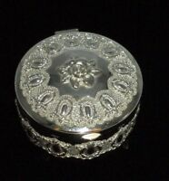 Vintage Trinket Box Silver Tone Metal Floral Roses Victorian Carved Jewelry CHIC