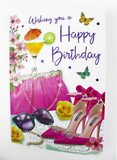 Wishing You A Happy Birthday Greeting Card & Envelope Seal Verse Womens Occasion