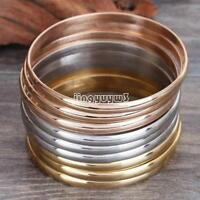 9 Pcs Gold Silver Rose Gold Bracelets Set Stainless Steel Bangle Jewelry Women's