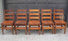 Art & Crafts Stickley Era Mission Oak Ladderback Saddle Seat Dining Chairs QTY 5