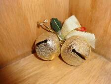 Sleigh Bells Gold Glitter Two Small Pinecones Ribbon Christmas Craft Holiday