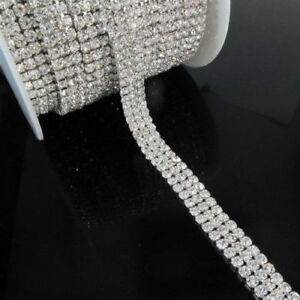 3 Row Clear Diamante Crystal Rhinestone Chain Trim Cake SS16 4mm Browband Silver