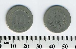 Germany - Empire 1876 A  - 10 Pfennig Copper-Nickel Coin  - Berlin mint - #1