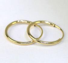 "Brand NEW endless hoop earrings 14K yellow gold tube 12MM 1/2"" long 18 gauge"