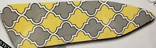 """Padded Ironing Board Cover & Pad, White,Gray & Yellow Design (for 54"""" boards),Bh"""