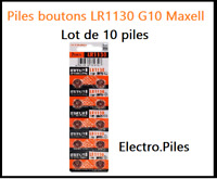 Lot de 10 Piles bouton LR1130 G10 de marque MAXELL, livraison rapide et gratuite