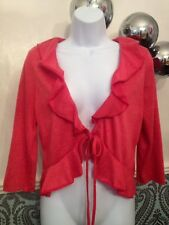 Per Una M&S Shrug Cardigan Peachy Colour Immaculate Size 14 3/4 Sleeves Frill