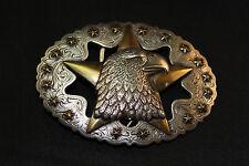 """Western Eagle Star Antiqued Silver Gold Oval Trophy Belt Buckle  for 1.5"""" Belt"""