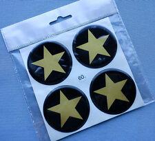 (stern 5/60G) 4x Embleme für Nabenkappen Felgendeckel 60mm Silikon Aufkleber