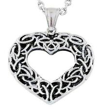 Heart Pendant Stainless Steel  scroll design  with chain