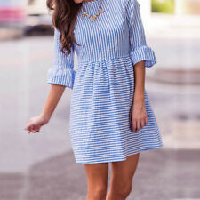 Vintage Women Striped 34 Sleeve Ruffled Flared Casual Tops Shirt Mini Dress^