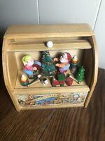 "Vintage ENESCO Wooden Toy Chest Music Box Christmas Santa/Tree/Toys ""Toy Land"""