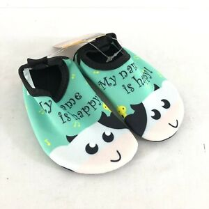 Toddlers Water Shoes My Name is Happy! Cow Slip On Fabric Lightweight Green 6/7
