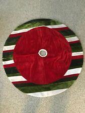"Christmas Tree Skirt Home Decor Green Red White Holidays 47"" Circle Circular"