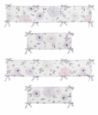 Watercolor Floral Lavender Purple Pink Grey Shabby Chic Baby Crib Bumper Pad