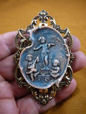 (CL63-4) Cherubs playing music angels blue + peach Cameo Pin Pendant brooch