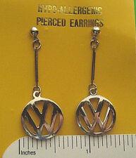 VW  VOLKSWAGEN  cutout emblem - ear rings, earrings GIFT BOXED { SILVER }