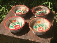4 Vintage Indian Small Enamel Bowls Dishes 100% Original Kitchenalia Flowers