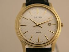Seiko mens watches black bracelet gold tone case white dial classic SKP350P1
