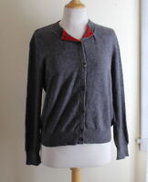 Brunello Cucinelli Exquisite Rich Gray Red 100% Cashmere Cardigan Sweater Sz M