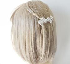 Stunning 7cm silver tone diamante - crystal metal bow barrette hair clip - clasp