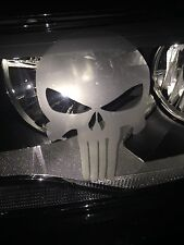 Frosted Etched Glass Headlight Punisher Skull Window Car Decal Sticker (2) 11-19