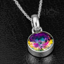 925 Sterling Silver MYSTIC Fire Rainbow TOPAZ Gemstone Necklace Pendant & Chain