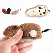 Cat Dog Playing Clockwork Spring Power Plush Mouse Toy Mechanical Motion Rat