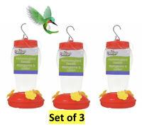 Value Set of 3-Hummingbird Feeder Clear Plastic Hanging 16 oz Outdoor/Yard New!