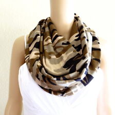 Printed Infinity Scarf. Military Pattern Circle Scarf. Soft Cotton Loop Scarf.