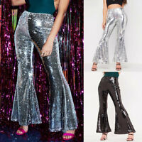 Women Sequin Clubwear Casual High Waist Wide Leg Trousers Leggings Long Pants