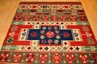 ON SALE Top Quality Wool kilim 5x7 handmade red and blue NAVAJO DESIGN /oriental