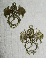 2 Drachen Anhänger Mittelalter antik bronze Steampunk Gothic Fantasy Larp