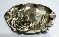 Belle COUPELLE Ancienne en Bronze Décor Rose Fleur - Vide-poche Cendrier