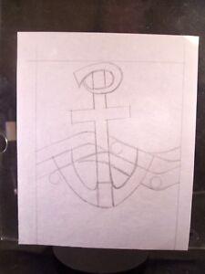 Stain Glass Anchor 1946-59 Pencil Sketch By C. Schattauer Kelm